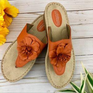 Croft & Barrow Orange Flower Wedge Sandals